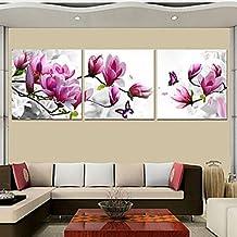 Impresiones PitengTM del cartel de color morado y rosa flor azul arte rajasthali impresión sobre lienzo de los cuadros 3 piezas Conjunto (sin Marco)/