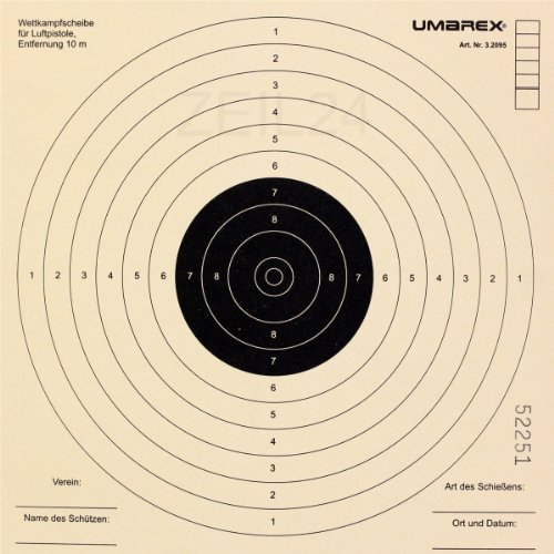 Luftpistolenscheibe 17 x 17 cm - 250 Stück / Zielscheiben für Luftpistole Original Umarex des Herstellers Oramics