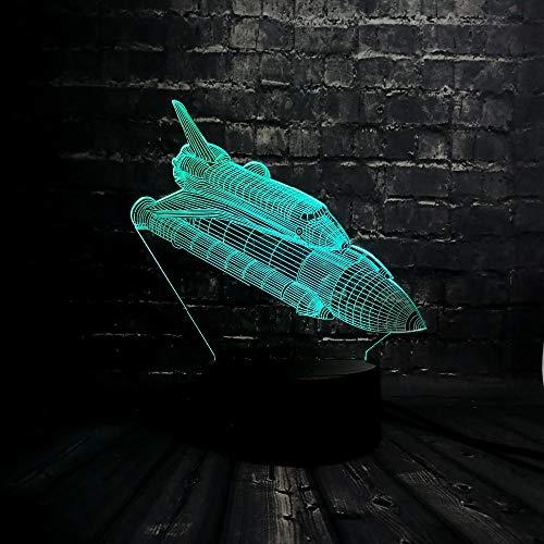 ZXYD Fusées Plan 3D LED Nuit Lumière Enfant Décoration USB Lampe Chambre Sommeil Lumière 7 Changement De Couleur USB Touch Base Cadeau De Noël Jouet,Commutateur 3 Couleurs