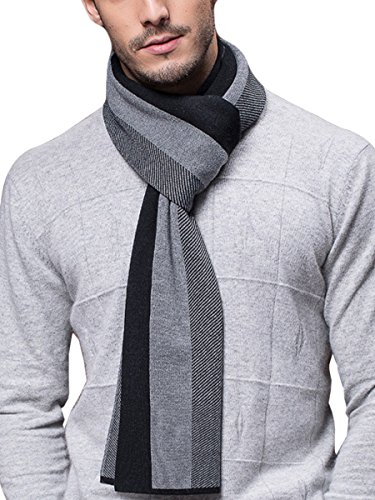 WANYING Winter Herbst Herren Strickschal 6% Wolle Gestrickter Schal Casual Business Gentleman - 180 * 30 cm Gestreift Schwarz Grau