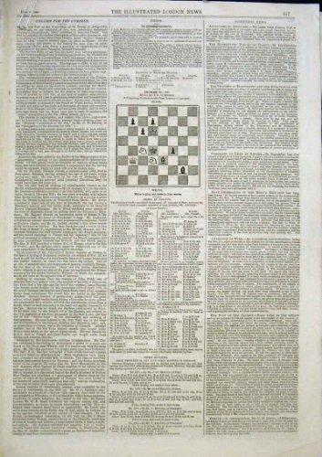 5 Schach-Probleme Und Lösungs-Antiken-Druck 1863
