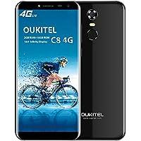 OUKITEL C8 4G Smartphone 18: 9 Verhältnis 5,5 Zoll HD Display, Android 7.0 Quad-Core 2GB RAM+16GB ROM Rückfahrkamera 13MP+5MP Dual Kamera, 3000mAh Batterie Touch ID, Band 20 Dual SIM Ohne Vertrag