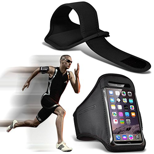 Fone-Case (Black) ZTE Axon 7 Adjustable Sports Armband Case Cover For Running Jogging Cycling Gym -