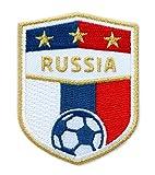 2er-Pack, Stick Abzeichen 70 x 55 mm / Russland Russia Fussball / Gold Stickerei Aufbügler Applikation Patch Bügelbild für Kleidung, Taschen / National Mannschaft Team Trikot Shirt Dress Flagge Fan
