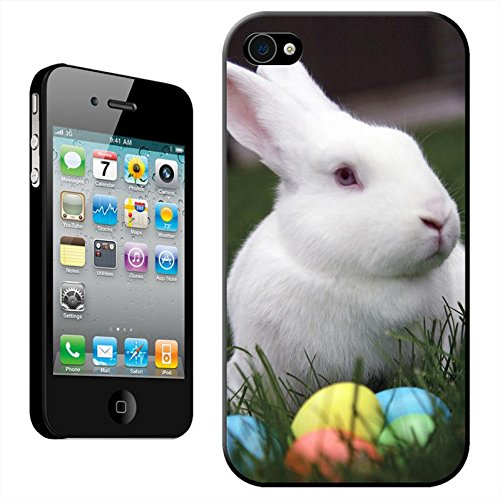 Lapins Coque arrière rigide détachable pour Apple iPhone modèles, plastique, Close Up Of Black & White Rabbit, iPhone 5C White Bunny With Easter Eggs