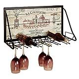 YANGMAN Support à vin en métal monté au Mur, Porte-gobelet de vin Suspendu à gobelet de Style Art Support de Tasse de vin inversé pour Restaurant Salon Bar 65x26x40 cm
