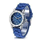 Time100 Orologio donna blu cinturino silicon, Cassa in acciaio INOX, sportivo casual#W50248L.05A