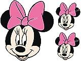 essbar Rosa Schleife Minnie Mouse Face & 2kleinere Gesichter Mädchen ungeschliffen Tortenaufleger