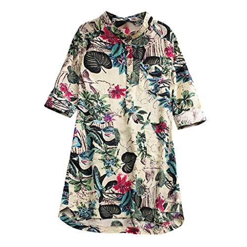Yvelands Damen Bluse Langarm Print Lose Bluse Pullover -