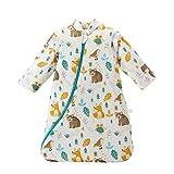 Unisex Schlafsack Baby Winter mit Abnehmbaren Ärmeln aus Bio Baumwolle Gefütterte Schlafsäcke Kinder Schlafsack für Neugeborene bis 48 Monate
