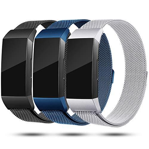 Onedream Compatible avec Bracelet Fitbit Charge 3,Charge3 Bracelet Femme Homme Strap Acier Inoxydable Metal Remplacement Band Bleu Argent Noir (Pas de Tracker),S