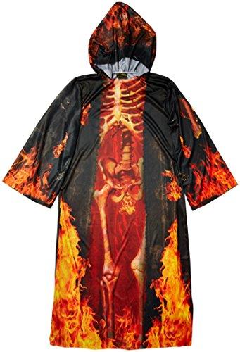 Feuer Skelett Halloween Kostüm-Robe - OneSize - schwarz/rot