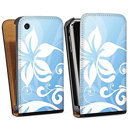 Apple iPhone 5s Housse Étui Protection Coque Fleur Fleur Ornement Sac Downflip noir
