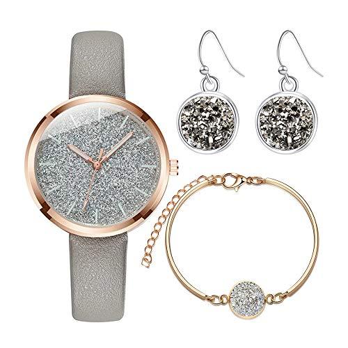 Souarts Damen Armbanduhr Quartzuhr Analog Strass Deko PU Leder Armband Uhr mit Batterie (Grau Amkette Ohrringe Set)