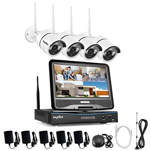 festplatte ohne strom SANNCE 4CH 720P Funk HD WLAN Überwachungsset Kamera IP Kamera Videoüberwachung NVR Recorder Nachtsicht Fernzugriff Kabellose Wireless für innen und außen Bereich Ohne Überwachung Festplatte wetterfest