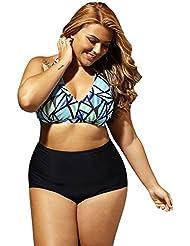 Européenne et américaine fashion imprimé maillot de bain XL taille haute réunis bikini triangle