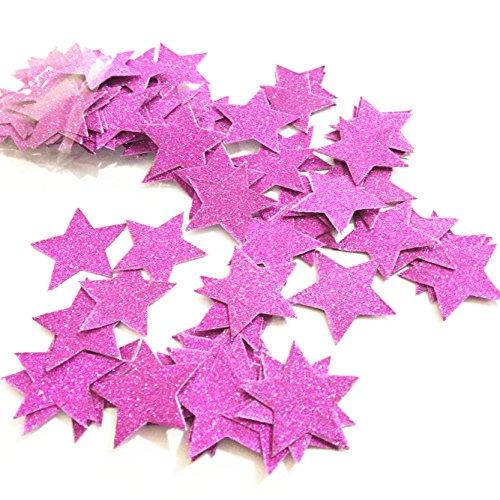 100Glitzer Blau Star Konfetti Party Dekoration, twinkle twinkle little star Konfetti Sterne, Hochzeit Tisch Decor, Geburtstag Baby Dusche Dekorationen 1.2inches Rose Violet (Twinkle Little Star Baby-dusche Dekorationen)