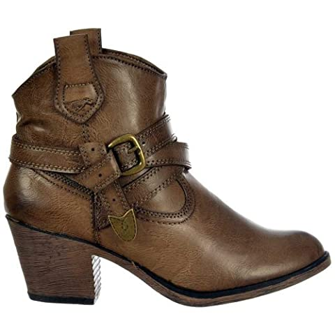 Satire Slick PU Cowboy Western Ankle Boots - Taupe UK5