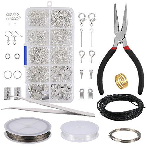 Schmuckherstellung Kit Schmuck Reparatur Kit Schmuck Zubehör Herstellung und Anfänger Werkzeug Kit Enthält Zange, Pinzette, Silber Zubehör und Draht