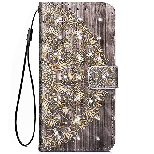 EUWLY Kompatibel mit Samsung Galaxy S7 Handy Schutzhülle Brieftasche Handytasche Glänzend Diamant Bling Strass Lederhülle Leder Tasche Handytasche Wallet Klapphülle Flip Case,Gold Mandala Blumen -