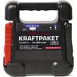 Dino KRAFTPAKET 12V & 24V Starthilfe 24000mAh (88.8Wh) 1000A Schnellstartsystem Starthilfegerät für Autobatterie mit Starthilfekabel für PKW LKW NKW Motorrad Boot