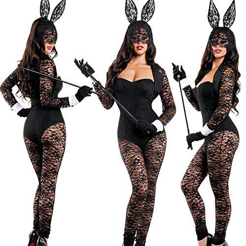 (GYH Halloween Sexy Häschen-Mädchen Overall Cosplay Spitze Jumpsuit Kostüm Erwachsene Weibliche Catsuit Uniform)