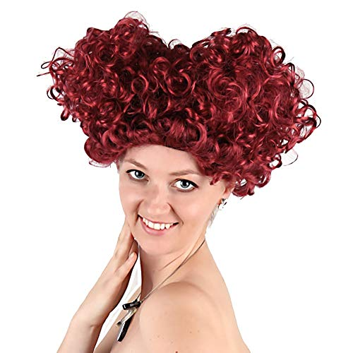 (NIUJF Perücke Fasching Rote Königin Lockig Karneval Cosplay Party Alice Im Wunderland Kostüm Zubehör Synthetik Perücke Hitzeresistente)