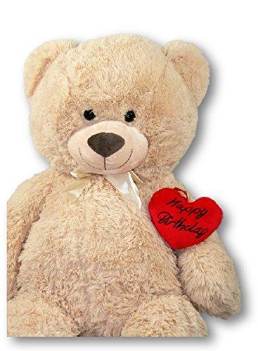 Geschenkestadl XXL Teddybär 100 cm mit Herzkissen Happy Birthday Set Kuscheltier Stofftier Plüschtier Teddy Herz
