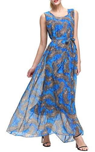 Plus Maxi-kleid Größe Blau (Wantdo Damen Pfaurad Gedruckt Böhmischen Sommer Maxi Kleider Große Dunkel Blau 48)