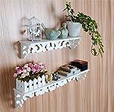 Yosoo Landhaus Holz Weiß Wandboard Wandregal Hängeregal Dekoregal Regal Retro Design mit Schraube (S+L)