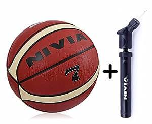 Nivia Engraver BasketBall (Size 7) + Nivia Double Action Ball Pump