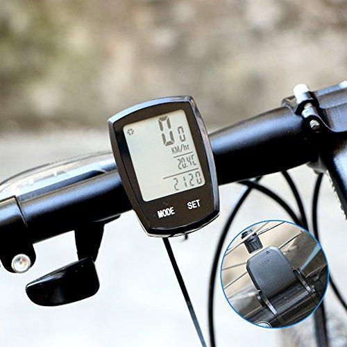 Fahrrad Computer, ThorFire Kabellos Rad Fahrrad Computer Geschwindigkeitsmesser Kilometerzähler Wasserdicht Auto Wakeup Große LCD-Hintergrundbeleuchtung Bewegungssensor Radfahren Echtzeit-Geschwindigkeit Track-24 Funktionen