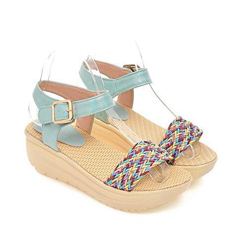 VogueZone009 Donna Punta Aperta Tacco Medio Finta Pelle Scamosciata Heeled-Sandals Azzurro