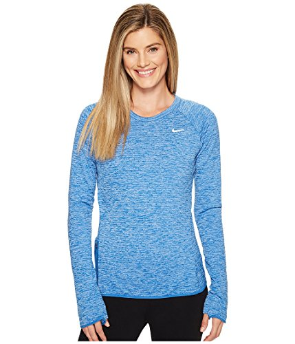 Nike W Nk Thrma Sphr Elmnt Top Crew - langärmeliges Top Damen, Farbe azul - (star blue/htr/star blue)