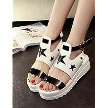 ShangYi Women's Shoes Stars Patchwork Leatherette Platform Peep Toe / Novelty Sandals Outdoor / Casual Black / White , black-us6 / eu36 / uk4 / cn36 , black-us6 / eu36 / uk4 / cn36