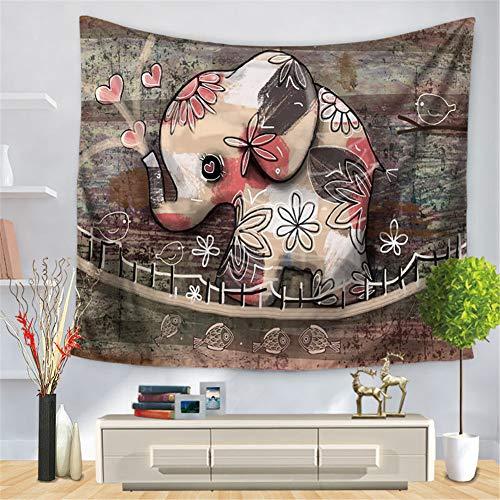 Stillshine Tapiz de Pared Creativo Grande Hippie, Tapices de Pared Grandes Mandala Playa Mandala Boho Pequeño Impreso Tapicería Accesorio Casero Decoración 3D Elefante (130 * 150cm,O)