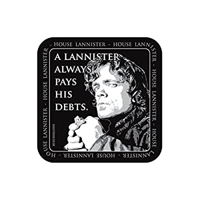 Coasteroo A LANNISTER ALWAYS PAYS HIS DEBTS Tyrion Lannister Game of Thrones - FRIDGE MAGNET - 57mm x 57mm - Gloss Finish - TV/Television Themed Design
