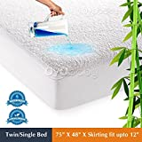 "OYO BABY Waterproof Mattress Protector hypoallergenic Twin Bed Topper (White, 75""x48""xSkirting 12"")"