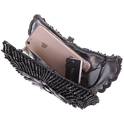Damen Clutch Abendtasche Handtasche Geldbörse Luxus Funkelt Glitzertasche Flügel Tasche mit wechselbare Trageketten von Santimon(3 Kolorit) Schwarz