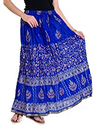 Jingle Impex Blue Gold Printed Cotton Long Skirt for Women (Free Size) Size: Length- 40 Inches, Waist- Non Stretch- 26, After Stretch- 42 Inches