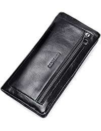 f3f464745a0f6 Yzibei dauerhaft Weiches Leder Lange Männer Business Geldbörse Öl Wachs  Leder Zipper Shopping Durable Für Große Kapazität (Style   Soft…