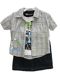 Sk8er Club Little Boys Gray Plaid Short Sleeve Shirt T-Shirt 3 Pc Shorts Set 2T-4T