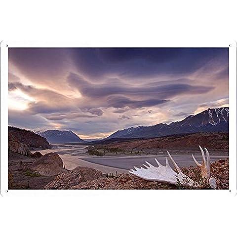 Metallo Poster Targa in metallo Piastra Moose Antler Alsek River Yukon Canada Retro Vintage parete Décor by hamgaacaan (20x30cm)