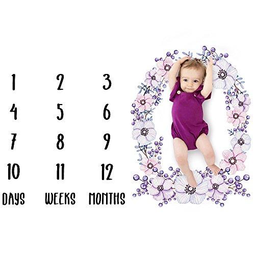 UNIAI Kleine Meerjungfrau Meilenstein Decke Monatliche Alter Decke Foto Requisiten Hintergrund Schaffen Individuelle Fotografie FüR Kleinkinder Bei Neugeborenen (Flower)