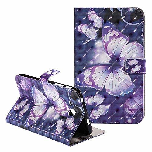 Galaxy Tab A 7.0 Hülle-Billion Ultra Slim Bling Bunte Glitter Malerei 3D Muster PU-Leder Flip Brieftasche Cover Stand Schutzhülle für Samsung Galaxy Tab A 7.0 Zoll SM - T280 (Violett Schmetterling)