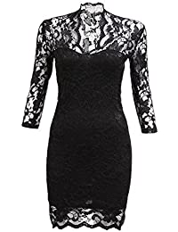 SSITG Damen Mode Spitzen kleid Sexy Party Mini Abendkleid Stretchkleider TOP Gr.36-44