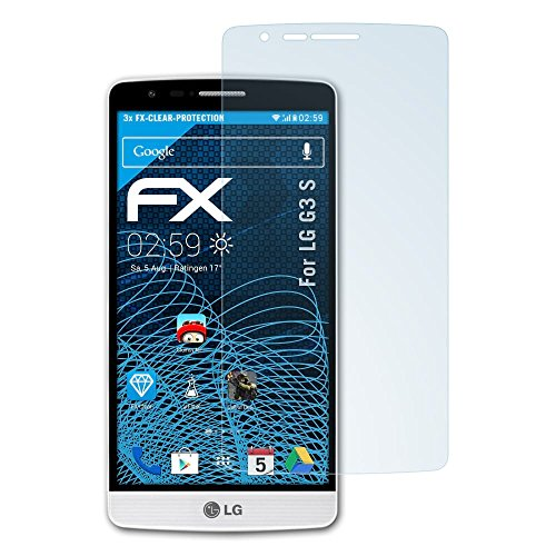 atFolix Schutzfolie kompatibel mit LG G3 S Folie, ultraklare FX Bildschirmschutzfolie (3X)