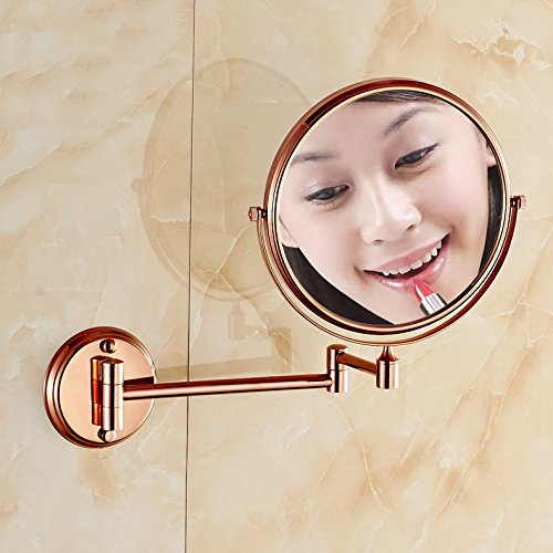 2x Spiegel Lupe (Makeup Spiegel, 2x Lupe rund Rose Gold Bad Make up Kosmetik Rasierspiegel)