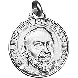 Médaille en Argent - Padre Pio de Pietrelcina - 18X18mm - Le Saint Guérisseur
