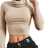 Juleya Damen Rollkragen Pullover Basic Tops - Kurz Sweatshirt Bluse Sexy T- Shirt Crop Tops Khaki L